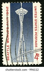The 1962 Worlds Fair commemerative US Postage Stamp featuring the Space Needle and Monorail in Seattle, Washington. Four Cents