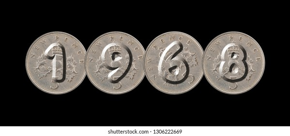1968 – five new pence coins on black background