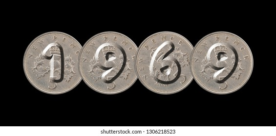 1969 – Coins on black background