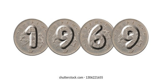 1969 – Coins on white background