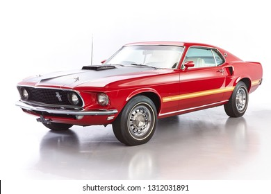 1969 Ford Mustang Mach 1 Fastback Original Candy Apple Red with White Clarion Knit Vinyl Mach 1 Hi-Back Bucket Seats, Very Rare Color Combination