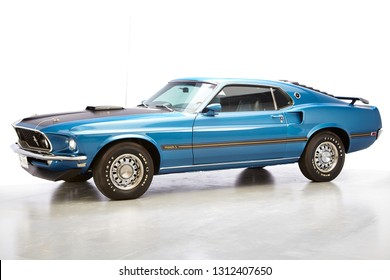 1969 Ford Mustang Mach 1 428 SCJ Fastback blue on a white background