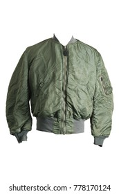 1970 USAF US Air Force Flying Bomber MA-1 Pilot Flight Jacket Authentic Vintage Front View Isolate