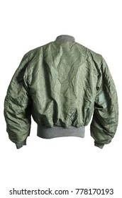 1970 USAF US Air Force Flying Bomber MA-1 Pilot Flight Jacket Authentic Vintage Back View Isolate