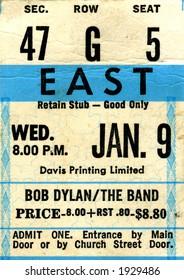 1970's Bob Dylan concert ticket stub