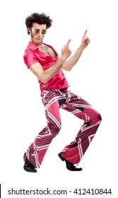 1970s vintage man with pink dress dance isolated on white