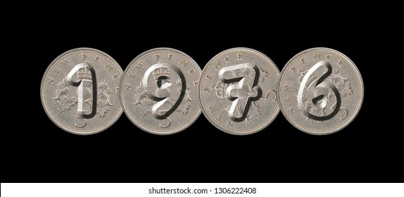 1976 – Coins on black background