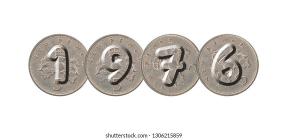 1976 – Coins on white background