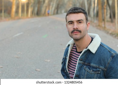 1980s men's style with copy space