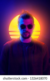 1980s sci-fi futuristic fashion poster style violet neon. Retro wave synth vapor wave portrait of a young man in sunglasses.