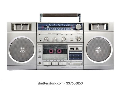 1980s Silver radio boom box with cassette isolated on white background