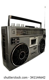 1980s Silver retro, boom box and headphone isolated on white background