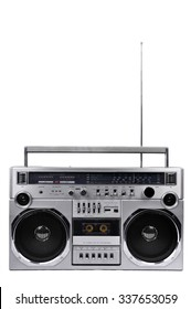 1980s Silver retro radio boom box with antenna up isolated on white background