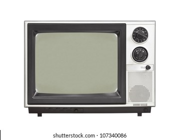 1980's vintage television set isolated.