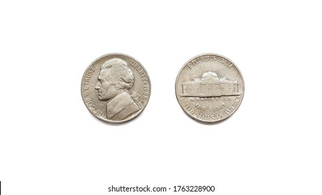 1988 United States of America 5 Cent Coin Front and Back Side Isolated on White Background