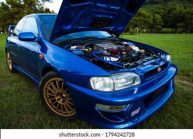 1995 Subaru impreza gc8.Photographed on June 27, 2020, photographed in Phuket, Thailand.It is a 4-wheel drive Subaru impreza gc8 and its body color is blue.Details about the engine 280ps horsepower.