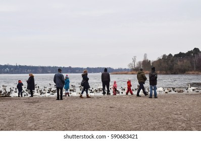 19-february-2017:people stand on beach and looking swan and duck,Berlin;germany