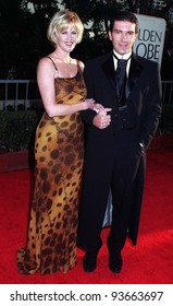 19JAN97:  Actress MELANIE GRIFFITH & husband ANTONIO BANDERAS at the Golden Globe Awards.       Please Credit: Pix: JEAN CUMMINGS