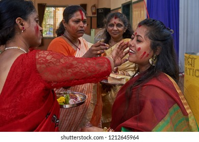 19-Oct-2018 Sindoor Khela (Amitayu) The Last Ritual for Bengali Married Women on Bijoya Dasami, Durga puja Lok Gram kalyan Maharashtra INDIA India