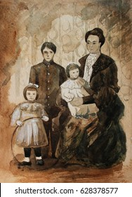 19-th century family portrait, hand drawing watercolor illustration