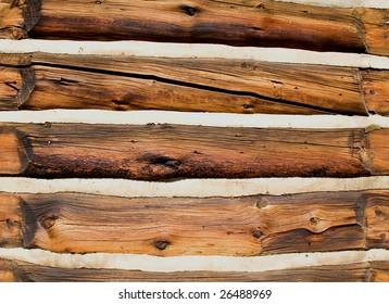 19th century log wall in Frisco Colorado historic park