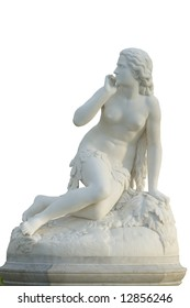 19th century statue of young female isolated over white