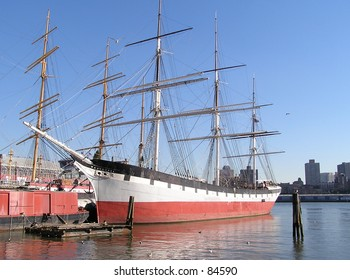 19th century Wavertree ship on the Hudson river, seaport of New York