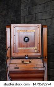 19th century wooden studio camera - front