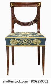 19th French Ormolu Mounted Empire Style chair isolated on white background