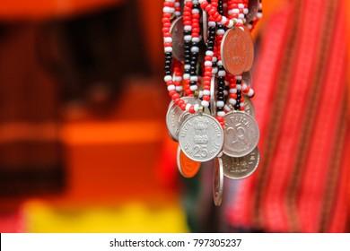 19th January 2018, Guwahati, Assam, India. Karbi handicrafted traditional  jewellery during Silpgram Mahotsav at Silpgram, Guwahati.
