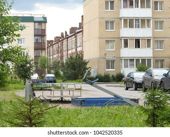 19th of July 2016 - Scene from Russian residential arear with view to tall houses past an empty playground, Pushkin, Russia