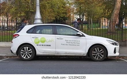 19th October 2018 Dublin. A Pay As You  Go hourly rental car in Dublin City Centre.