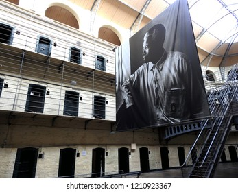 19th October 2018 Dublin. Poster for a Nelson Mandela exhibition in Kilmainham Gaol, Dublin where the leaders of the 1916 Rising were executed. The exhibition celebrates the centenary of his birth.