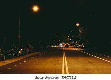 19th Street at night, at Dupont Circle, in Washington, DC.
