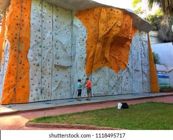 1er Mai, Algiers, Algeria - October 6, 2017: Climbing wall in city center.