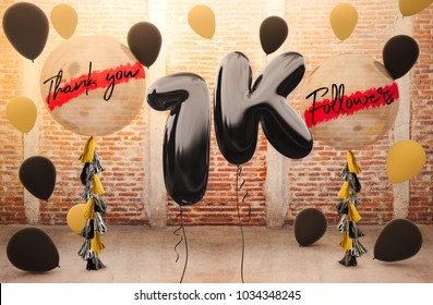 1k or 1000 followers thank you with brilliant Balloons background. For your Celebration and Appreciation for social Network friends, Web user Thank you or celebrate of subscriber, follower, like