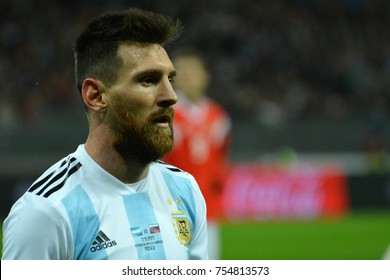 1SA_0002 - Moscow, Russia - November 11, 2017. Argentina national football team captain Lionel Messi during international test match against Russia in Moscow.