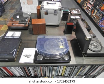 1st April 2020 Dublin, Ireland. Old vinyl record player collection.