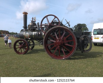 1st August 2018- A vintage Ransomes Sims & Jefferies steam traction engine at a classic vehicle shoe in Pembroke, Pembrokeshire, Wales, UK.