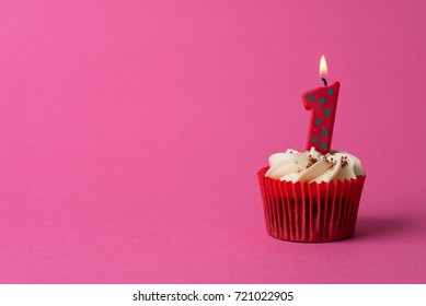 1st Birthday cupcake pink background