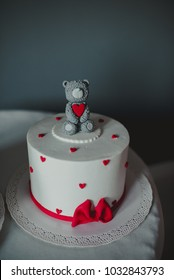 1st birthday grey bear cake