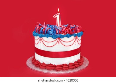 1st cake, on vibrant red background.