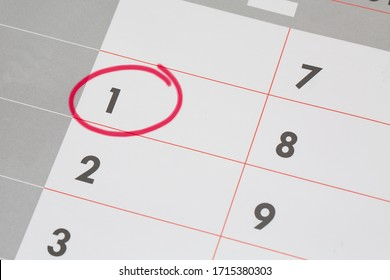 1st Date of the Month marked in red marker pen on a simple planner calendar