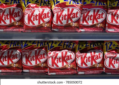 1st January 2018,Kuala Lumpur Malaysia.Kit Kat on shelf.Kit Kat is a chocolate-covered wafer bar confection created by Rowntree's of York , United Kingdom, and is now produced globally by Nestle.