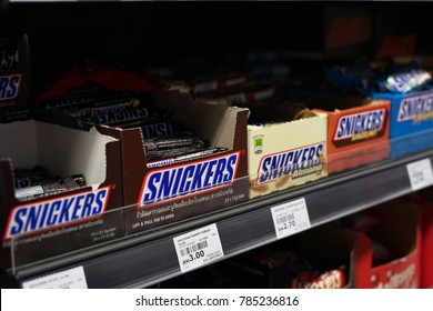 1st January 2018,Kuala Lumpur Malaysia.Snickers chocolate bars on store shelf. Snickers is a brand name chocolate bar made by the American company Mars, Incorporated.