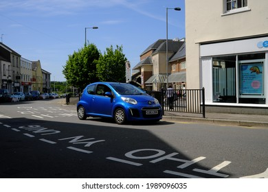 1st June 2021- A stylish Citroen C1 Vtr, small three door hatchback car,  being driven through the town centre at Carmarthen, Carmarthenshire, Wales, UK.