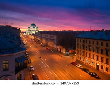 1st Krasnoarmeyskaya street, Trinity Cathedral in St. Petersburg at sunset