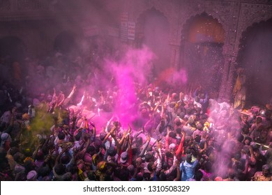 1st March 2018 Vrindavan India : people of indian hinduism blessing with color powder and celebrating the holi festival at Banke Bihari temple in Vrindavan city state of Uttar Pradesh India