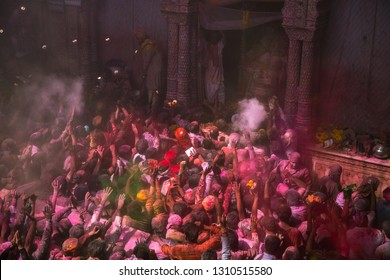1st March 2018 Vrindavan India : high angle view of hindu people praying and blessing for hindu gods inside Banke Bihari temple in Vrindavan state of Uttar Pradesh in India during holi festival day