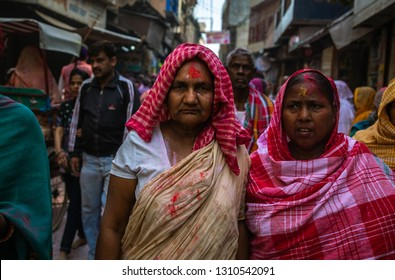 1st March 2018 Vrindavan India : indian women with sari walking on street of Vrindavan in Uttar Pradesh state during holi festival in India